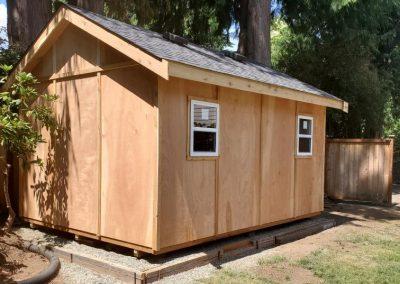 Cedar backyard storage shed